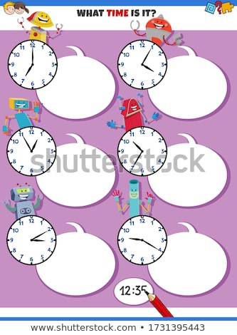 telling time educational task with fantasy characters Stock photo © izakowski