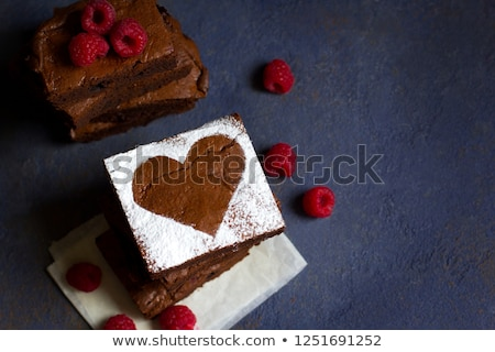 Málna torta valentin nap szívek kávéscsésze felső Stock fotó © karandaev