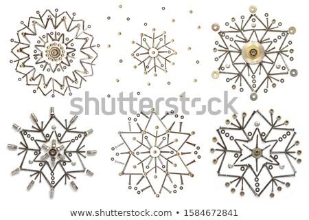 スノーフレーク 銀 クロム 3D 雪 ストックフォト © rzymu