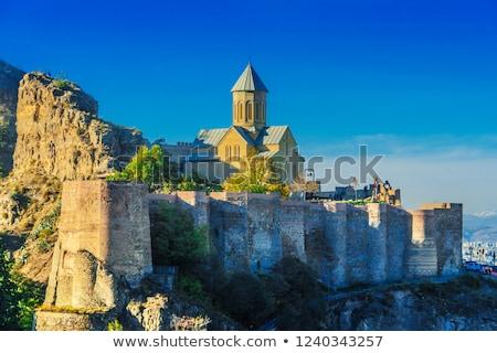 Vista fortaleza Georgia barrio antiguo ciudad nube Foto stock © borisb17