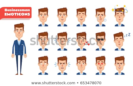 Set young, handsome man emoticons. Man avatars showing different facial expressions. Cartoon style e Stock photo © ukasz_hampel