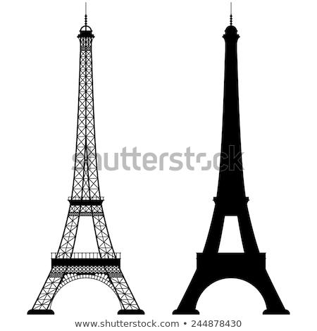 Retro Torre Eiffel touro estátua Paris França Foto stock © naffarts