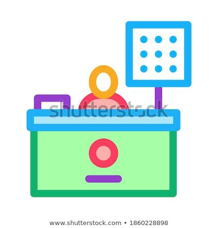 Kassier tabel icon vector schets illustratie Stockfoto © pikepicture