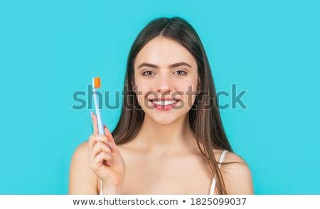 Mosolyog fiatal nő tart fogkefe fotó ázsiai Stock fotó © deandrobot
