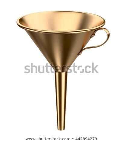 Gouden trechter 3D 3d render illustratie geïsoleerd Stockfoto © djmilic