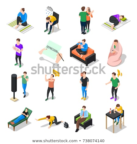 Stress And Depression Isometric Icons Set Vector Stock photo © pikepicture