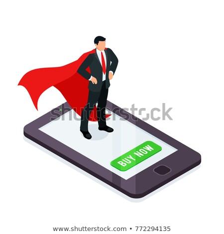 Süper kahraman adam izometrik ikon vektör imzalamak Stok fotoğraf © pikepicture
