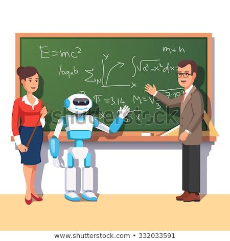 Humanoid Robot Chalk Board Teacher Stock photo © limbi007
