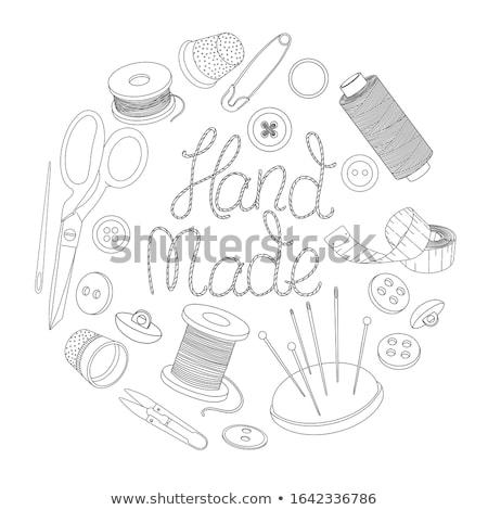Naald vingerhoed traditioneel naaien jute oppervlak Stockfoto © angelsimon
