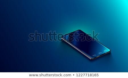 Glanzend Blauw telefoon knop geïsoleerd witte Stockfoto © cidepix
