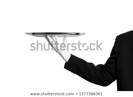 Pincér tálca kéz fedett tányér étel Stock fotó © coolgraphic