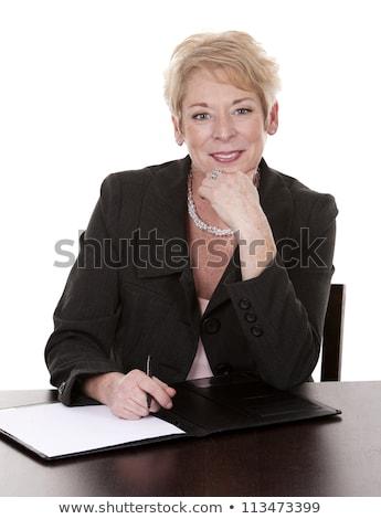 Foto stock: Altos · mujer · de · negocios · sonrisa · sentarse · detrás