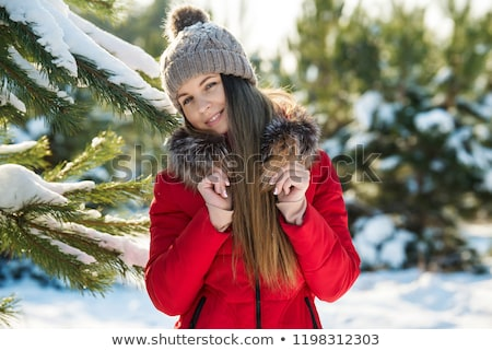 Stok fotoğraf: Portrait Of Beautiful Young Red Hair Woman Outdoors In Winter Lo