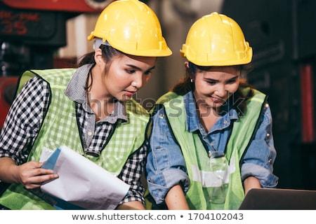 fiatal · női · építész · guggol · laptop · nő - stock fotó © hasloo