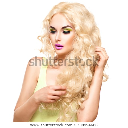 woman with long blond hair and purple eyeshadow Stock photo © lubavnel