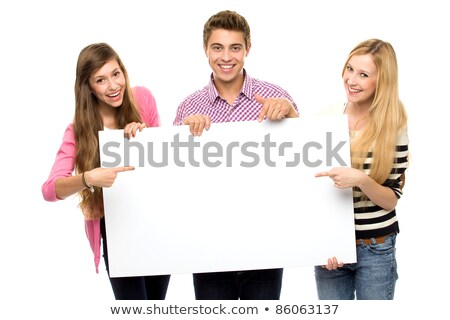 Three friends holding blank poster Stock photo © photography33