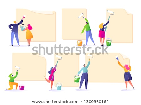 female and male painter presenting an ad board Stock photo © photography33