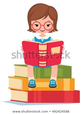 女の子 · 図書 · 白 · 少女 - ストックフォト © jirkaejc