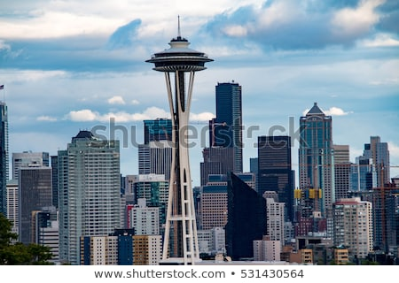 Seattle Space needle at dusk viewed from kerry park stock photo © jaymudaliar