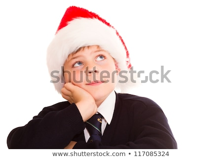 Cute schoolboy waiting for the holidays. Wearing in a school uni Stock photo © annakazimir