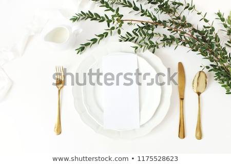 Esküvő vacsora menü hely kép tányér Stock fotó © gregory21