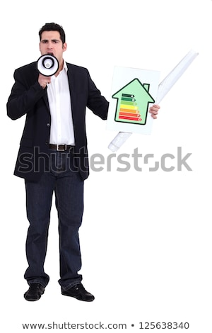 Man with a megaphone and energy rating card stock photo © photography33