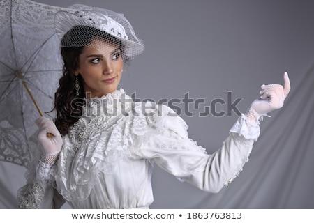 肖像 ファッショナブル 女性 白 レトロな ベール ストックフォト © gromovataya