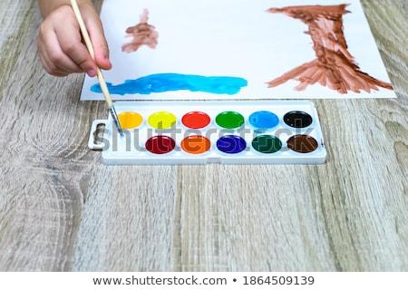 macska · kiscica · rajz · vízfesték · festmény · papír - stock fotó © brozova