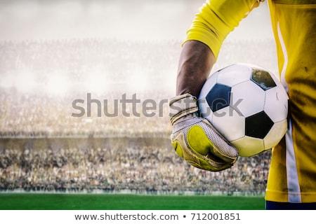 вратарь рук футбольным мячом девушки Футбол Сток-фото © val_th