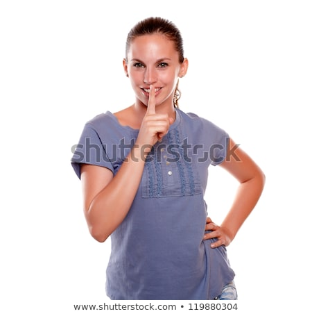 Genç kadın sessizlik mavi gömlek Stok fotoğraf © pablocalvog