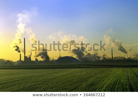 Füst ipar növény mezők napfelkelte felhők Stock fotó © meinzahn