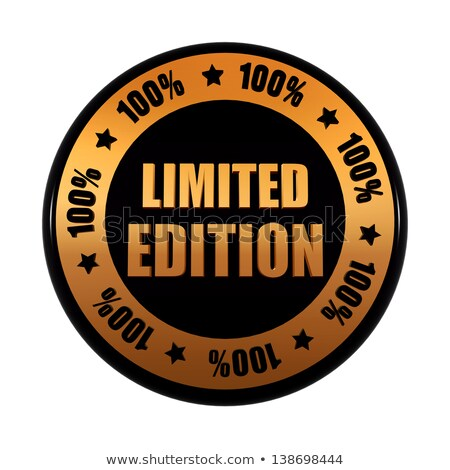 limited edition 100 percentages in golden black circle label Stock photo © marinini