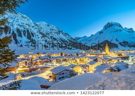 лыжных склон белый кольца спорт пейзаж Сток-фото © pumujcl