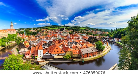 Aerial view of the old town of Cesky Krumlov Stock photo © frank11