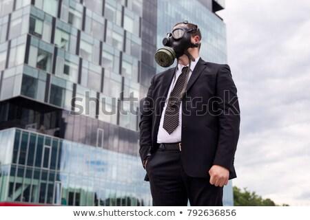 Portre işadamı gaz maskesi takım elbise maske kimyasal Stok fotoğraf © stokkete