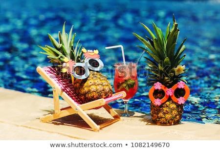 Tropikal başvurmak güneş sandalye yüzme havuzu ev Stok fotoğraf © Bertl123