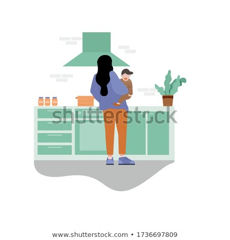 Vector illustration of housewife preparing diner Stock photo © egrafika
