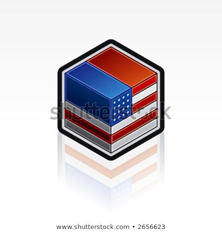 USA köteg renderelt kockák zászló csillagok Stock fotó © HerrBullermann