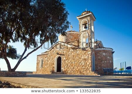 kerk · Cyprus · panorama · strand · zonsondergang · landschap - stockfoto © kirill_m