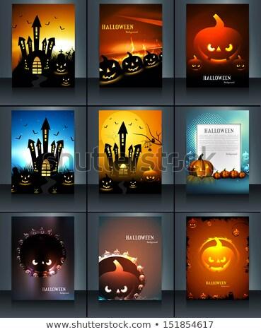 halloween · buli · tökök · hold · fű · hát - stock fotó © bharat