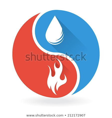 Yin Yang symbol with water and fire Stock photo © icefront