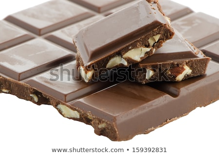 Closeup detail of chocolate with almods parts Stock photo © homydesign