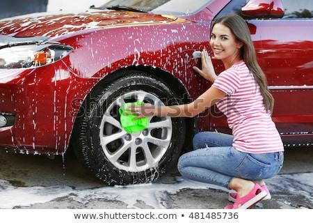 mulher · sexy · lavagem · carro · bastante · mulher · jovem · terreno · extremo - foto stock © witthaya