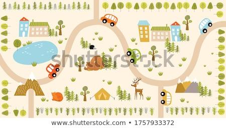 おもちゃ · 家 · 森林 · 単純な · いくつかの · 木 - ストックフォト © gewoldi