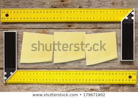 Angle outils sticky notes carré bois Photo stock © Grazvydas