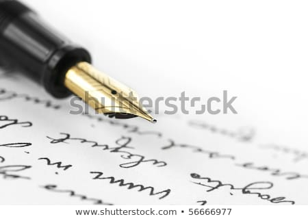 Gold fountain pen on hand written letter Stock photo © ambientideas