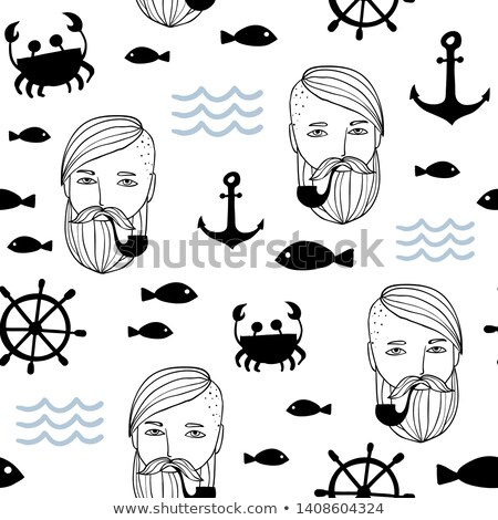 seamless pattern of anchors hand wheels and mustache stock photo © elenapro