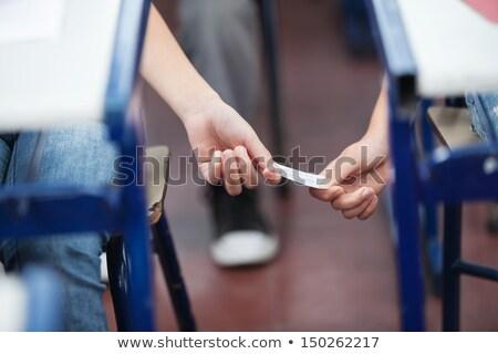 diákok · jegyzetek · osztály · lány · könyv · iskola - stock fotó © monkey_business