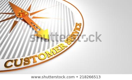Loyalität weiß golden Kompass Nadel Kunden Stock foto © tashatuvango