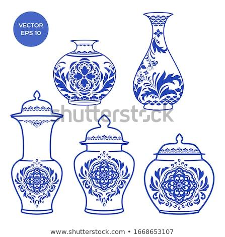 Kínai porcelán váza fehér művészet klasszikus Stock fotó © dezign56